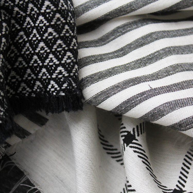 Tissu percale coton rayure noir et blanc folkandfabric for Tapis coton noir et blanc