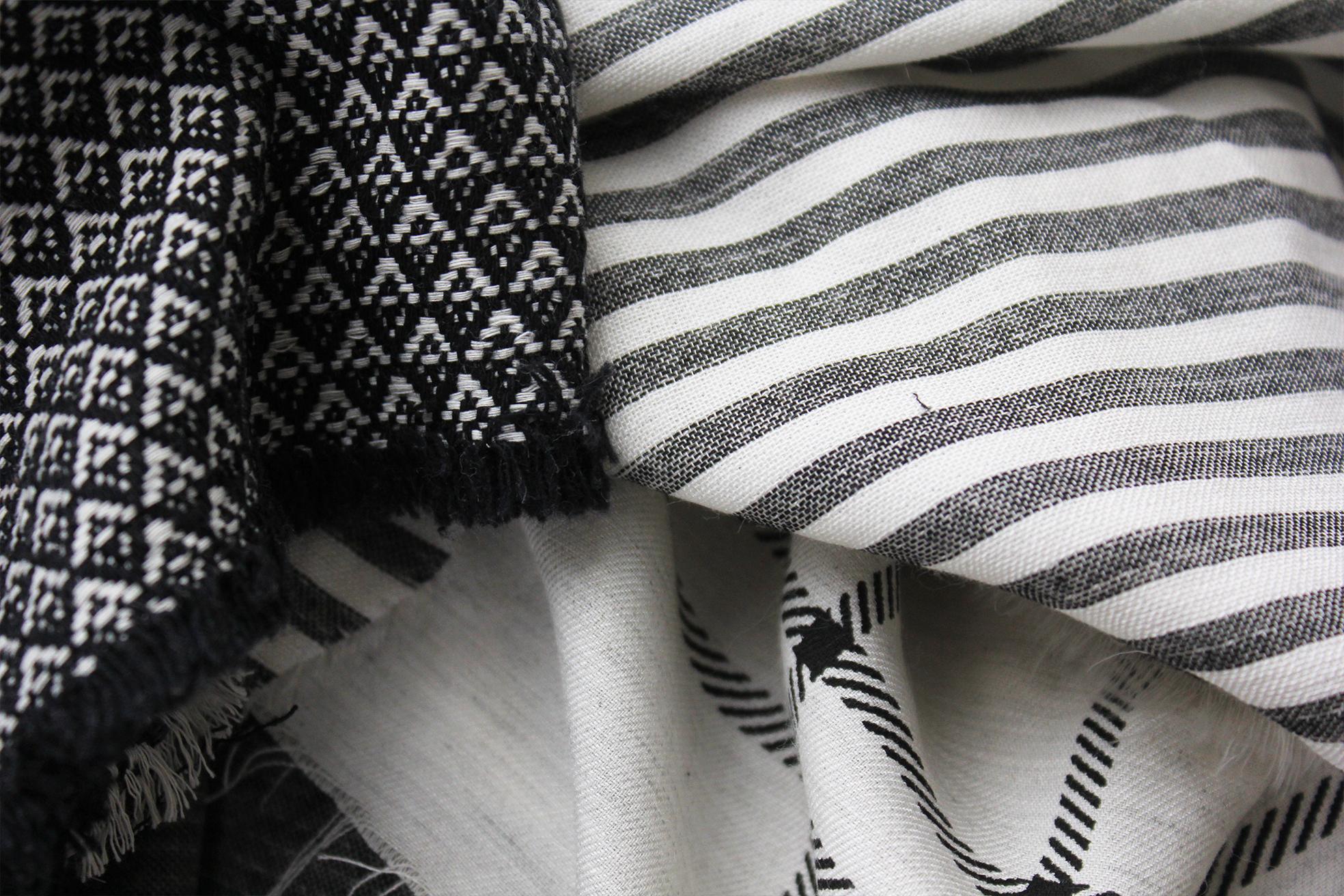 tissu percale coton rayure noir et blanc folkandfabric. Black Bedroom Furniture Sets. Home Design Ideas